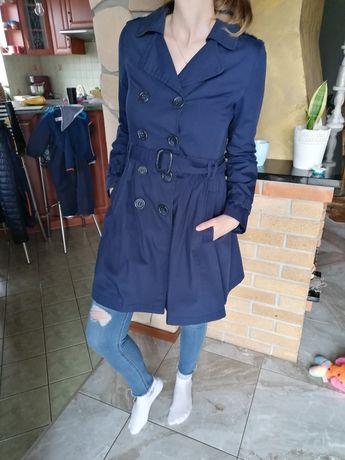 Granatowy płaszcz trencz r. 36