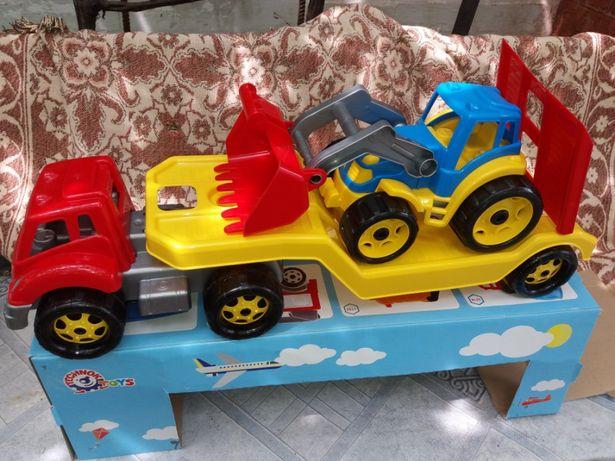 Трактор детский с автовозом 80см