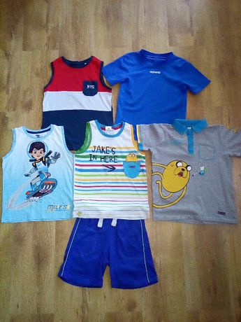 Zestaw chłopiec 128 bluzka naramki spodenki t-shirt Adventure time