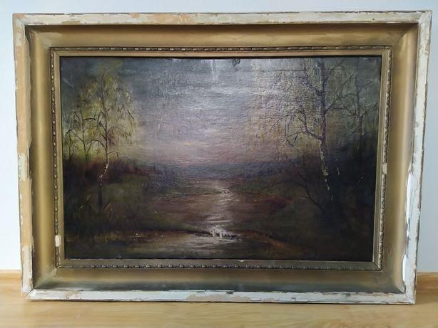 Stary Duży obraz olejny w ramie do renowacji
