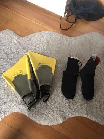 Barbatanas e meias de bodyboard( preço total)