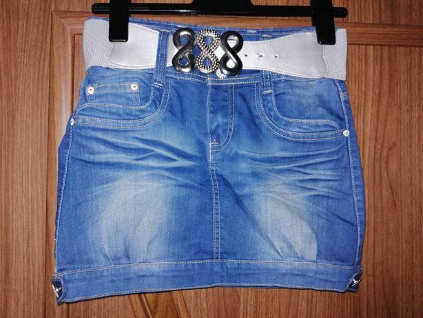 Dżinsowa spódniczka z ozdobnym pasem rozmiar S/36