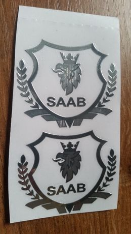 Saab 9-3, 9-5, 9000, SS, logo, srebrne naklejki na okna, 2 sztuki
