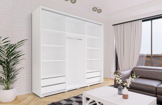 Szafa przesuwna PRIMA 250 Lustro+szuflady dostawa gratis