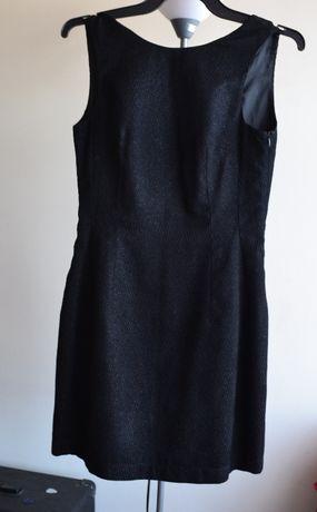 Sukienka czarna rozkloszowana, wiązany tył, 38