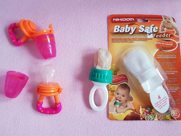 Gryzak do podawania pokarmu silikonowy Baby Ono/bawełniany wkłady nowe
