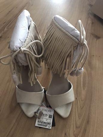 Buty ZARA sandały frędzle rozm. 38 nowe bezowe