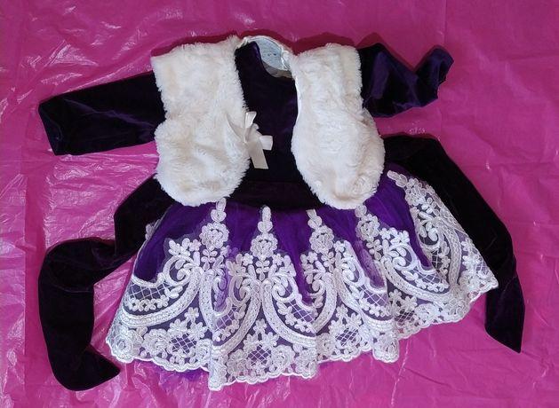 Платье нарядное пышное для принцессы на годик+повязки+пинетки+болеро