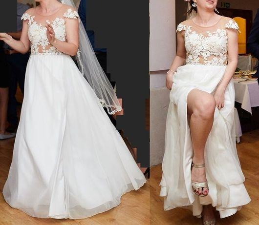 Suknia ślubna koronkowa elegancka zwiewna dziewczęca 38