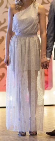 Sukienka srebrna 2w1 na jedno ramie