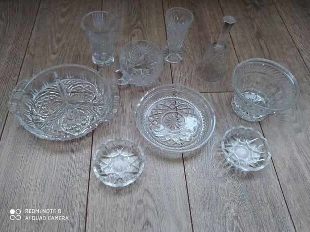 Kryształy PRL różne kieliszki dzwonek talerzyk miseczki Ząbkowice
