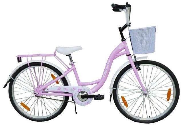 Rower 24 cale dla dziewczynki Fioletowy Rowerek dziecięcy Łabędź