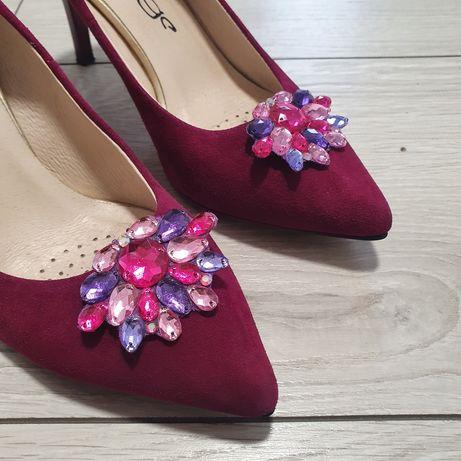 Spinki Klipsy do butów kamienie nowe