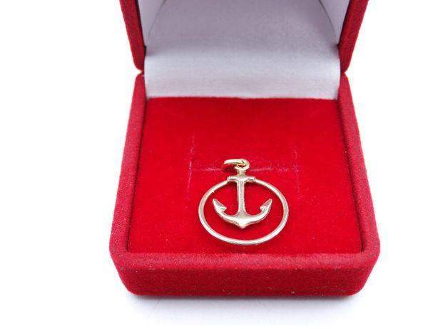 Piękna złota zawieszka P585 1,00g kotwica LOMBARD66