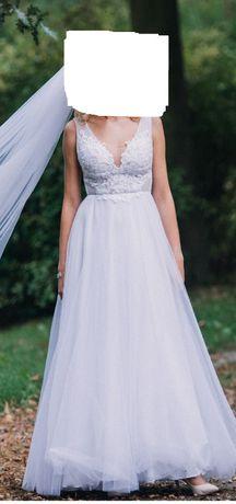 piękna biała suknia ślubna koronka perełki rozm. 32/34 xs