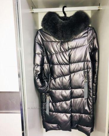Стильное зимнее пальто кожзам размер С