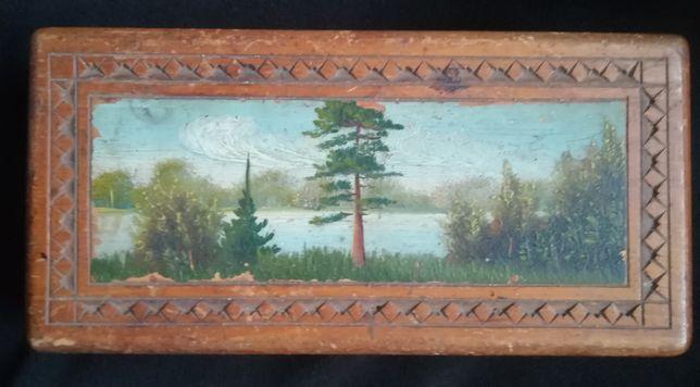 Шкатулка деревянная 50-х годов с ручной росписью