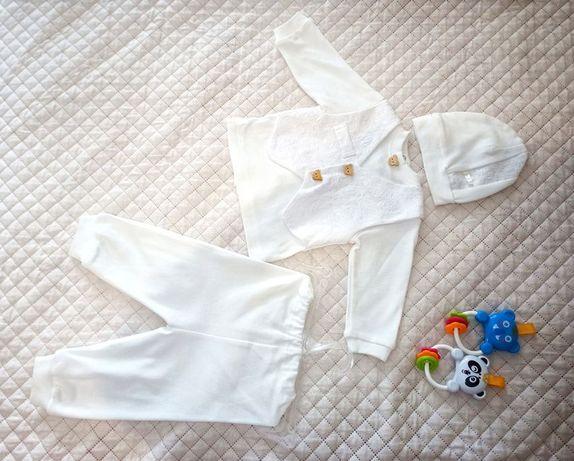 Костюм набір для хрещення крещения хлопчика 0-3 місяці новонародженого