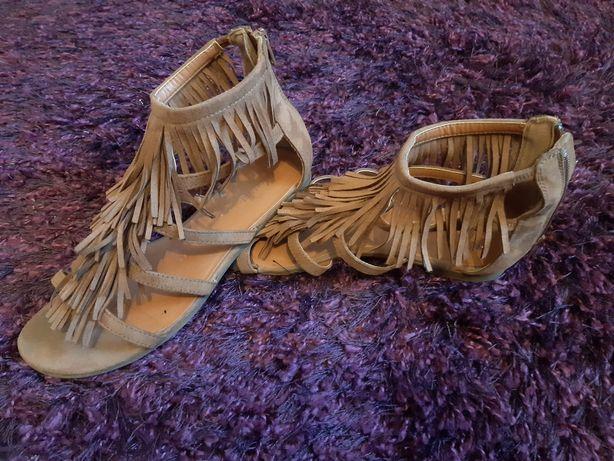 Damskie dziewczęce sandały Graceland rozmiar 37 beżowe płaskie