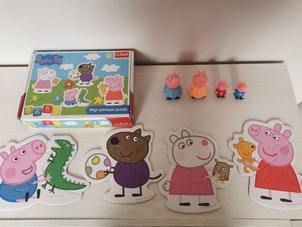 Świnka Peppa puzzle MAXI i figurki mało używane świetny stan