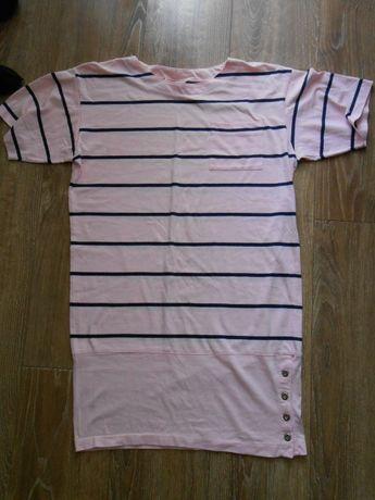 Sukienka tunika różowo-czarna M paski