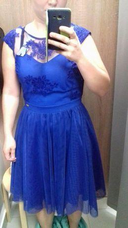 sukienka chabrowa niebieska tiul koronka wesele