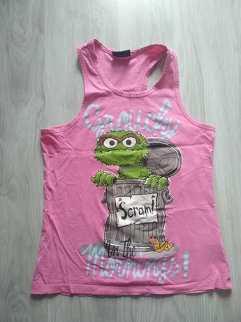 Koszulka bluzka różowa na ramiączkach ulica Sezamkowa