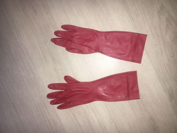 209 / Nowe czerwone rękawiczki lateks latex 0,4 mm bez zamków M