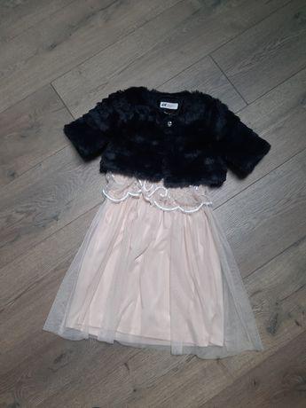 Sukienka Pudrowa Tiul + Bolerko Czarne Futerko 122/128 cm