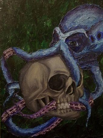 Картина маслом, осминог, череп, секрет