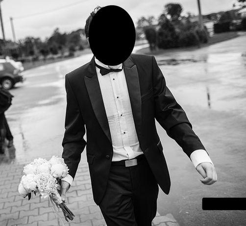 Smoking na ślub, studniówkę komplet koszula, spinki. Wzrost 177, 65kg