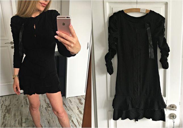 Sukienka NOWA czarna falbanki tasiemka 34 XS 36 S 38 M 40 L