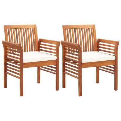 vidaXL Cadeiras de jantar jardim c/ almofadões 2 pcs madeira acácia 45965