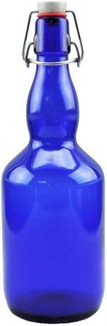 Garrafa de vidro azul de 750 ml com fecho de porcelana