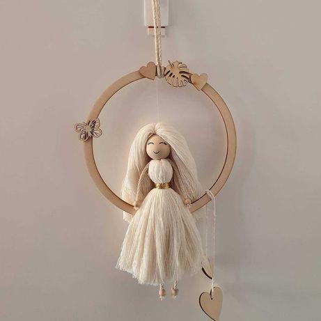 Makrama aniołek, dziewczynka, laleczka, chrzest, komunia
