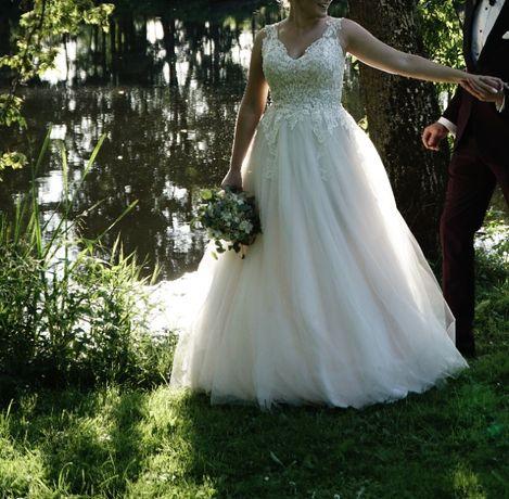 Suknia ślubna pudrowy róż, rozm 40