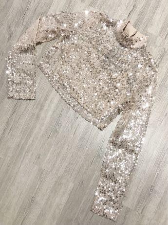Nude crop Top XS 34 girlcode bralet krótka bluzka ze stójka beżowy na