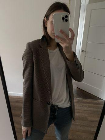 Пиджак прямого кроя в гусиную лапку/клетку