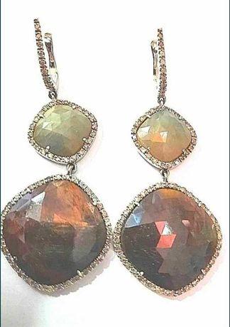 Крупные серьги, золото, нат,. камни, бриллианты.