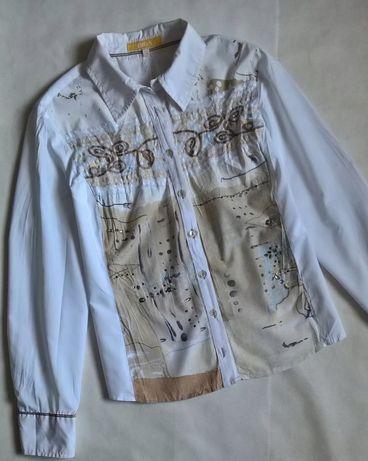 BIBA koszula damska biała beż zdobiona print 40/42 L XL