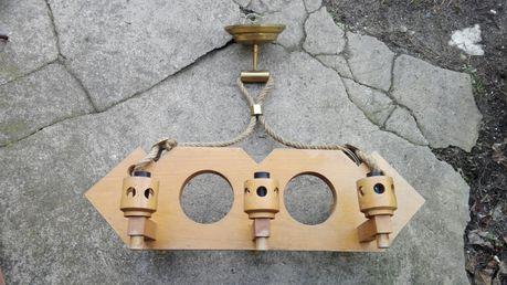 Żyrandol drewniany vintage retro prl