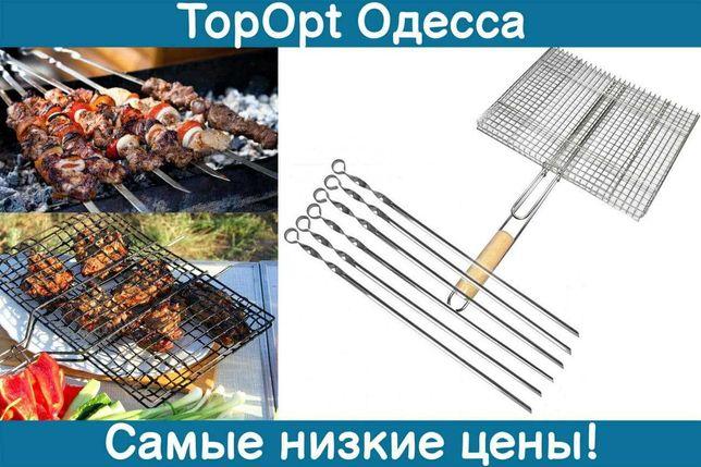 Решетка гриль для барбекю, сетка для гриля и Шампуры для шашлыков 6шт.