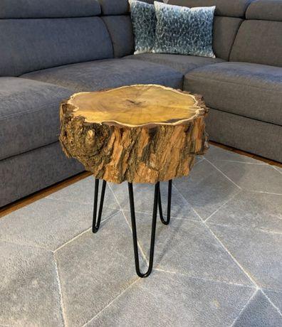 stolik kawowy hairpin legs z plastra akacji