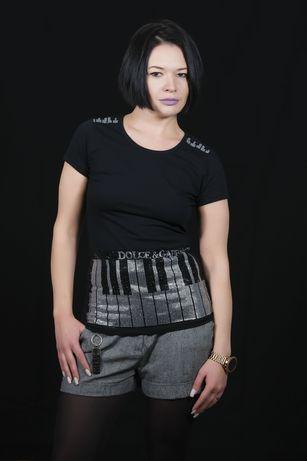 Футболка женская Dolce & Gabbana пианино стразы