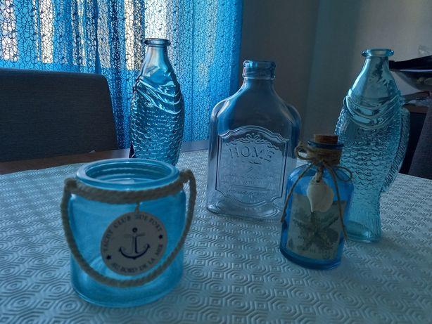Peças Decorativas em Vidro Azul