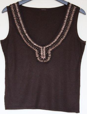 Bluzka damska brązowa z koralikami rozmiar M \ L
