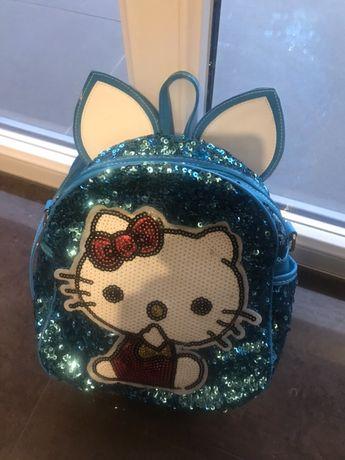 Hello Kitty śliczny niebieski plecak torebka cekiny stan idealny