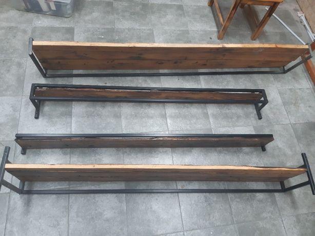 półka drewniana industrialna retro ze starej deski na stalowym stelażu