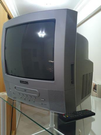 Televisão com leitor de DVD incorporado.