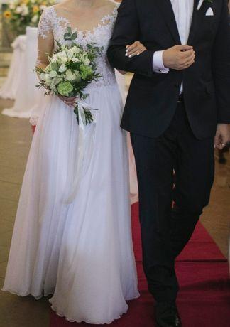 zwiewna suknia ślubna z muślinu z koronką (długi rękaw)